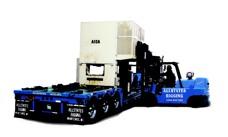 Allstates Rigging forklift moving Aida machine